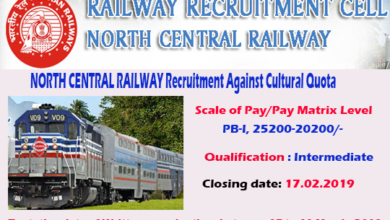 Photo of NORTH CENTRAL RAILWAY Recruitment Against  Cultural Quota For Year 2018-19