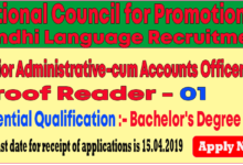 Photo of National Council for Promotion of Sindhi Language Recruitment 2019